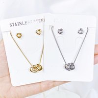 Earrings & Necklace StainlessSteel Set Hollow Heart Choker Necklaces For Women Clavicle Colar Statement Collares Dainty Pendant Gift