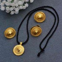 Wando Dubai Ювелирные Наборы для Женщин Золотые Цвет Эфиопские Кулон Ожерелья Серьги Среднее Восточное Арабское Африканские Свадебные Украшения