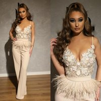 Spaghetti Straps Women's Jumpsuits with Feather Formal Dresses Evening Gowns