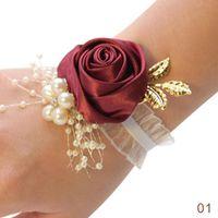 Charm Bracelets Fashion Bridesmaid Bracelet Wedding Corsage Polyester Ribbon Rose Flowers Pearl Bow Bridel Gifts Wrist