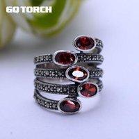 GQTIRCH Natural Gemstone Anéis Grandes Para As Mulheres Red Garnet Stone Real Pure 925 Esterlina Prata Jóias Marcasite Multi Camada Anel K727