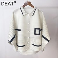 Women's Jackets DEAT Woman Pleated Coat Hit Color Geometric Batwing Sleeve Single Breasted Loose Casual Style Jacket 2021 Summer 15XF757