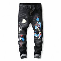 Black Print Biker Hommes Jeans déchiré Fit Fit Hip Hop Denim Pantalons Jeans Hommes de haute qualité Pantalon de moto Punk Homme M3PQ #