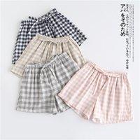 Women's Sleepwear Couple Pajamas Summer Cotton Gauze Shorts Japanese Style Simple Elastic Waist Casual Large Size Lattice Men And Women Home