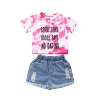 Kids Clothing Sets Girls Outfits Baby Clothes Children Suits Summer Cotton Short Sleeve T-shirts Hole Shorts Jeans 2Pcs 2-6Y B5127