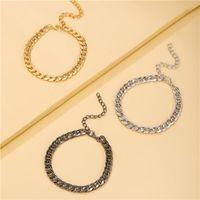 Link, Chain Fashion Gold Color Punk Curb Cuban Bracelet Miami Boho Thick Stainless Steel Bracelets For Women Men Unisex Wrist Jewelry