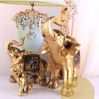 Inicio Regalo Golden Resina Elefante Estatua Lucky Feng Shui Elegante Elefante Tronco Estatua Lucky Riqueza Figurine Artesanía Adornos