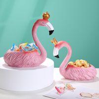 Exquisito creativo rosa flamenco almacenamiento decoración del hogar decoración decoraciones sala de estar sala decoración decoración de resina artesanía
