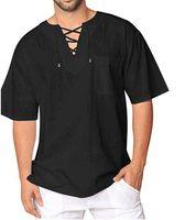 2021 masculinos camisetas verão manga curta praia em v-pescoço de compras de ioga roupas africano homem pólo preto tops puro roupas de linho branco