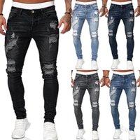 5 Renkler Erkek Kot Yırtık Sıkıntılı Delik Kot Yırtık Yüksek Sokak Klasik Siyah Mavi Gri Denim Pantolon Splice Ince Kalem Pantolon