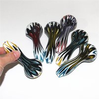 High Quality Colorful Bright Stripe Tobacco Hand Glass Smoking Pipes Leaves pattern spoon shape bubble carb caps