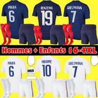 Size S-4XL 2021 프랑스 벤제마 유니폼 21 22 MBappe Griezmann Pogba 축구 유니폼 Kante 축구 셔츠 Varane Pavard Maillot de Foot Hommes + Enfants Kit
