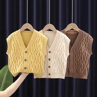 Pullover Baby Toddler School Boy Girl Vest Children Waistcoat Korean Sleeveless Knitted Sweater Cardigan Kids For Boys Girls