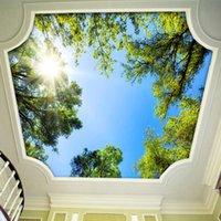 Sfondi Dropship moderno 3D stereo stereo sole verde albero PO soffitto murale della carta da parati sala da pranzo natura papel de parede