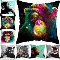 Peintures Fashion Banksy DJ Singe Thinker avec coiffe d'oreiller House House Coussin décoratif Coussin 45x45cm pour canapé