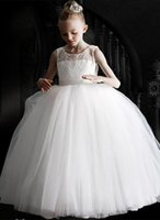 White Flower Girl Dresses Lace Applique Fluffy Tulle And O-Neck Sleeveless participate Birthday Up First Communion