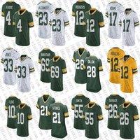 """12 هارون رودجرز 69 ديفيد باختياري 21 إريك ستوك توكس مخصص لكرة القدم الفانيلة 33 جونز 17 دافانتي آدمز AJ Dillon Jaire Alexander Green Bay """"Packers"""" Za'Darius Smith"""