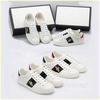 Kutu Erkek Kadın Sneaker Rahat Ayakkabılar Yılan Chaussures Deri Sneakers ACE Arı Işlemeli Çizgili Beyaz Ayakkabı Düz Platformu Yürüyüş Spor Trainers Tiger # 2021 #