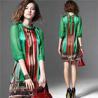 Wholesale Luxury Fashion Summer Chiffon Dress Women 2021 Runway Beautiful Ladies Casul Office Business Print Mini Dresses Elegant Designer