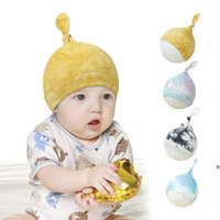 Baby Hats Tie tinte tinte tapa tapa del cráneo Tiedye algodón sombrero de moda niño turbante elástico gorrito infantil cabeza de cabeza accesorios HWB6860