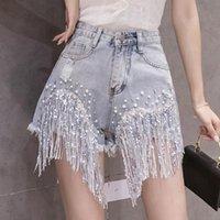 المرأة الدنيم السراويل الكلاسيكية خمر عالية الخصر الأزرق واسعة الساق الإناث سيدات الصيف السيدات بارد ممزق جينز للنساء