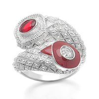 Distinctive Luxury Cross Wedding Princess Rings Red Zircon Engagement For Women Silver Color Jewelry Love Gift Band