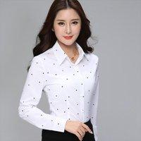 Biboyamall Элегантные Полосатые Топы Весенние Женские Рубашки Офис Большой Размер 3XL DOT