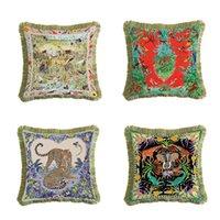 Luxuxleopard Kissenbezüge Beidseitige Tiere Print Quasten Kissenbezug europäischen Stil Sofa dekorative Kissenbezüge Werfen