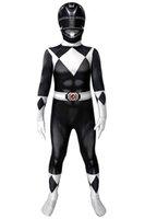 Halloween Carnival Costumes Cosplay Superhero 3D Printing Power Rangers Zack Black Ranger 40D Polyeter Zentai Mask for Kids Jumpuit