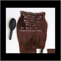 In / su Prodotti220 g 20 22 pollici Clip in estensioni umane Brasiliano 33 # Color Remy Hight Capelli di capelli tessi 10pcs / Set pettine pettine consegna 2021 c34