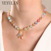 Pendant Necklaces Colorful Transparent Beaded Choker Necklace For Women Butterfly Planet Chokers Fashion Jewelry Gift