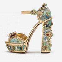 Jurk schoenen grote maat super hoge hakken mode retro aangepaste steentjes waterdicht platform dikke hak barokke vis mond dames sandalen