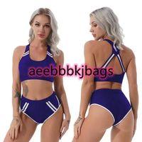 Two-piece Suits Women 2Pcs Swimsuits Bikini Sets Swimwear Workout Open Back Pads Tops High Waist Briefs Seaside Swimming Bathing Beachwear