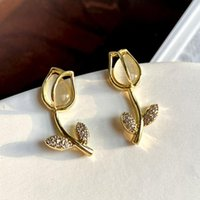 Stud Trendy Elegant Tulip Charm Earrings For Women Accessories Korean Fashion Jewelry S925 Needle Shiny Zirconia Party Fine Gift