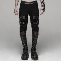 Gótico diario moda motocycle streetwear goth pantalones punk rock guapo estiramiento sarga larga pantalones hombres rave