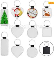 Sublimation Blanks Keychain PU Leather Keychain for Christmas Heat Transfer Keychain Keyring for DIY Craft Supplies FY4385 CA16