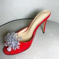 2021 women Ladies Genuine real leather syiletto high heels summer sandals bead 3D flower Flip-flops slipper slip-on wedding dress party shoes diamond 34-43 3 colours