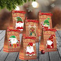 Рождественские подарочные пакеты Xmas Упаковка Сумка Креативная конфета Бумажная сумочка с крафты Party Stative Украшения HWB9133