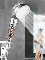 욕실 고압 음이온 필터 목욕 3 주열 스파 헤드 스위치 켜기 / 끄기 버튼 강우 물 절약 샤워