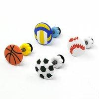 10pcs Charms Cartoon Sports Ball Shoe Accessories Football Basketball Buckle Decorations Fit Croc Wristband JIBZ Kids X-mas