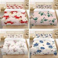 Bedding Sets 2 3pcs set Fashion Rose Print Set Soft And Comfortable Down Quilt Cover Pillowcase All-season Home Textile