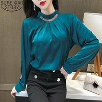 Women's Blouses & Shirts Elegant Office Lady Chiffon Blouse Women Long Sleeve Stand Collar 2021 Solid Plus Size Female Tops Blusas Mujer 130