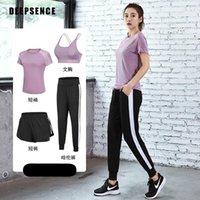 Yoga Outfit Deepsence 4 Pcs Calças Casacos Casacos Acolchoado Bra Treino Running Roupas T-shirt Leggings Gym Set Mulheres Mulheres Esporte Terno
