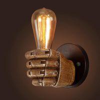1pc Creative Retro E27 Résine LED LED Fist mur lampe de style industriel Porte-lumière Accueil Restaurant Bar Decor