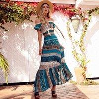 Dois peça vestido khale yose verão 2 conjunto mulheres floral impresso boémio saia boêmio hippie boho chique colheita top beach sets roupas