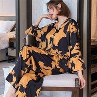 Pajamas Loungewear Wearswurs Silk Женская Домашняя Одежда Двухструктурные Наборы Ночные Для Дамы Длинные Рубашки с длинным рукавом 210928