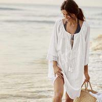 Women's Swimwear White Summer Plus Size Blue Beach Dress Swim Mesh Long Swimming Suit Cover Up For Women Beachwear Outfit Bathing