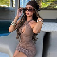 Casual Dresses Fashion Solid Ruched Halter Woman Elegant Cut Out Bodycon Evening Club Party Birthday Clothes