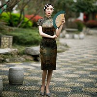Ethnic Clothing Satin Vintage Button Qipao Floral Chinese Style Female Cheongsam Mandarin Collar Prom Party Dress Gown Sexy Spring Vestidos