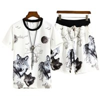 Summer 3d Printed Wolf Mens Sportswear Sets T-Shirt+Shorts Cool Tracksuit Men Suits Two Pieces Casual Man Clothing Size M-4XLdesigner